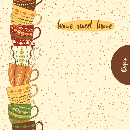 brawn: Seamless vertical border with hand drawing cute colored cups. Kitchen background with  mugs made on doodle. Place for text. Home sweet home.