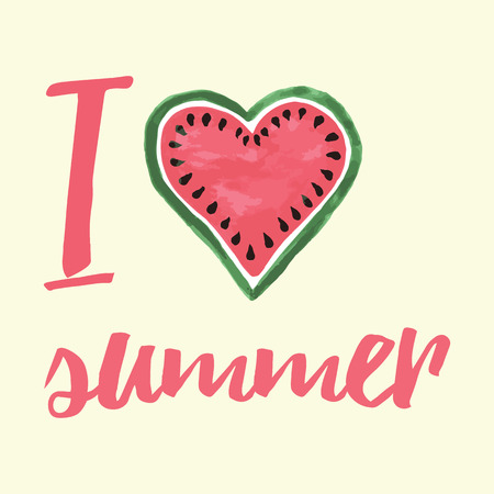 Vector print with watermelon and lettering. I love summer. Typographic printable banner for summer design. Hand drawing abstract fruit. Heart.