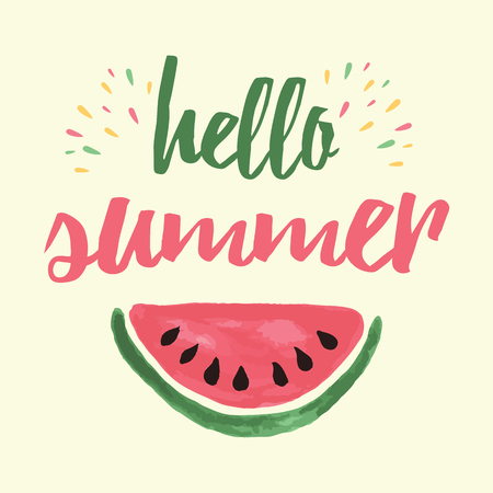 hello heart: Vector print with watermelon and lettering. Hello summer. Typographic printable banner for summer design. Hand drawing abstract fruit. Heart. Illustration
