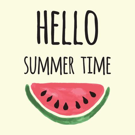 Vectorafdruk met watermeloen en het van letters voorzien. Hallo zomertijd. Typografische afdrukbare banner voor zomerontwerp. Hand die abstract fruit trekt. Hart.