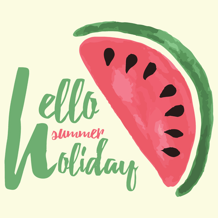 hello heart: Vector print with watermelon and lettering. Hello summer holiday. Typographic printable banner for summer design. Hand drawing abstract fruit. Heart. Illustration