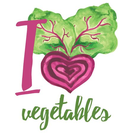 i label: Typographic banner with hand drawn beetroot. I love vegatables. Vegan food concept text label for card.