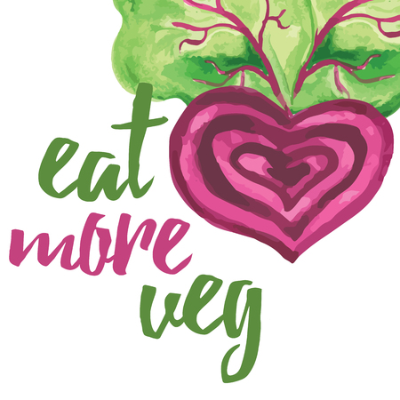 veggies: Typographic banner with hand drawn beetroot. Eat more veg. Vegan food concept text label for card. Inspiration quote. Illustration