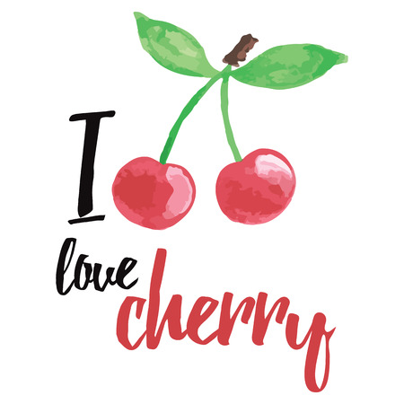 valentinas: Hand written banner with inspiration message about love and cherry. I love cherry. Modern lettering card. Typographic hand drawn printable poster for summer design. Abstract fruit design.