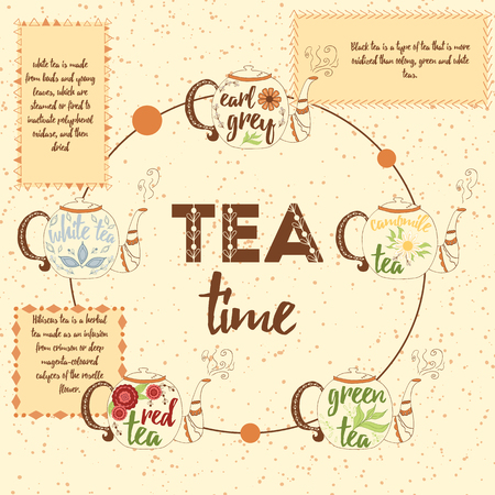 kind of diagram: Tea infographics. Set of different kind of tea - chamomile, red, white, black and green tea.  Hand drawn kettle in brown colors. Infographic hand drawn elements and simple symbols for diagram design.