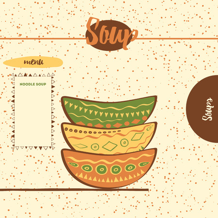 shelfs: Hand drawing cute colored plates on the  shelfs. Kitchen background with bowls made on doodle style. Web template with place for text. Suitable for recipe. Illustration