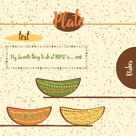 brawn: Hand drawing cute colored plates on the  shelfs. Kitchen background with bowls made on doodle style. Web template with place for text and inspiring status about cook.