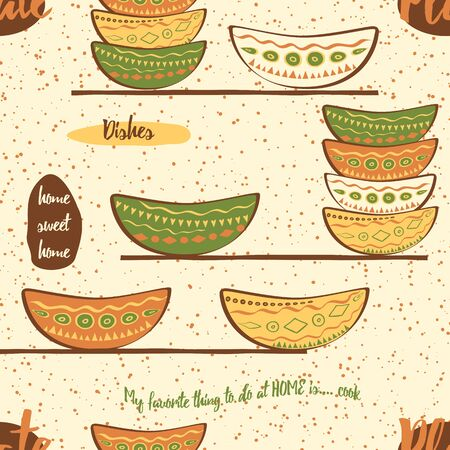 brawn: Seamless pattern with hand drawing cute colored plates on the  shelf. Kitchen background with bowls made on doodle style for fabric or wallpaper.