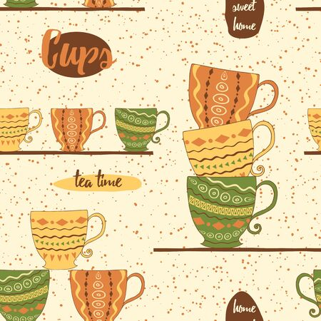 brawn: Seamless pattern with hand drawing cute colored cups on the  shelf. Kitchen background for textile or wallpaper.