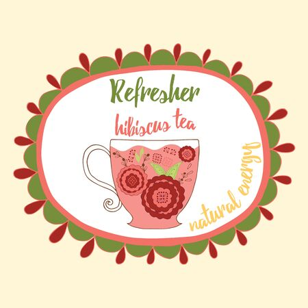 summer drink: Soft refresh drink illustration. Fresh hibiscus red tea with flowers made in doodle style into round frame with text. Natural summer drink.