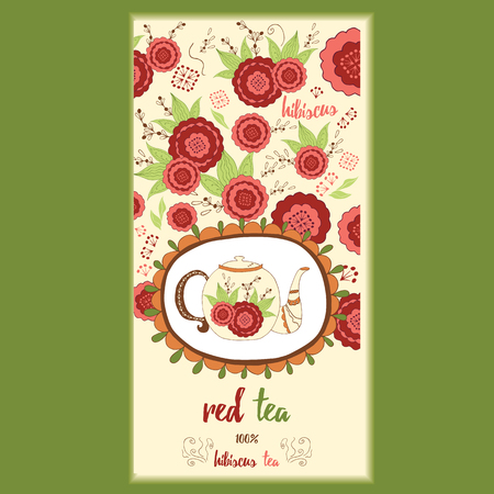 red tea: Hand made template packaging tea, label, banner, poster, identity, branding. Hand drawn red tea background with ornamental design element - cute teapot with hibiscus. Stylish design for herb red tea.