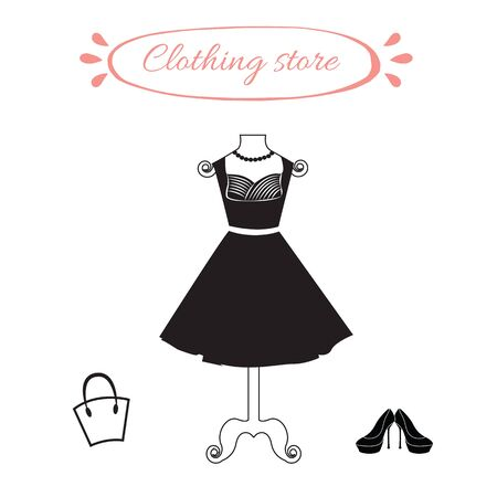 black dress: Black female elegant dress on mannequin. Dummy with a little black dress, high heels and woman bag. Objects for clothing store.