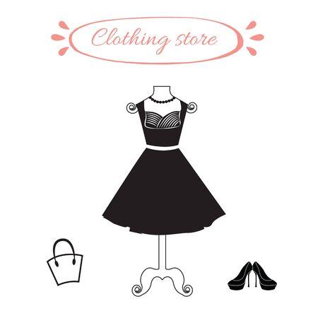 elegante vestido negro hembra en maniquí. Maniquí con un pequeño vestido negro, zapatos de tacón alto y bolso de la mujer. Objetos para la tienda de ropa.