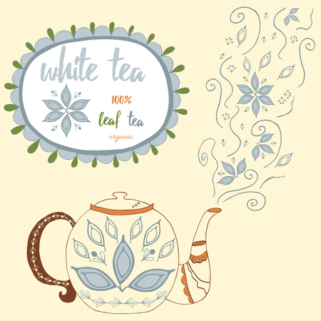 white tea: Hand drawn teapot with  white tea. Cute steam with tea leaves and flowers. Herbal tea hand lettering and doodles elements illustration. Motivational poster. Menu design with text and round frame Illustration