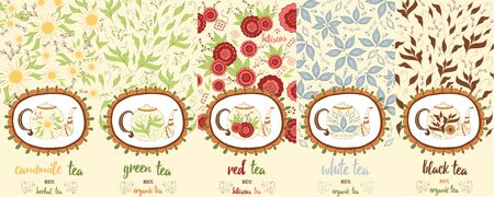 chamomile tea: Vector set of design elements and icons in trendy doodle style for tea package - chamomile, red, white, black and green tea. Hand drawn package design.