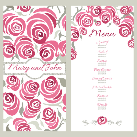 Wedding menu design with hand painted roses decorative cards vector wedding menu design with hand painted roses decorative cards with pink romantic flowers vector illustration for restaurant or catering mightylinksfo