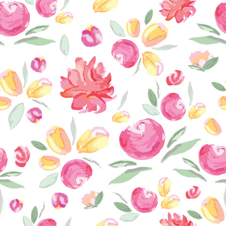 Seamless bright floral pattern with watercolor hand painted flowers. Gentle colors. Female template. Handmade image for textile design.