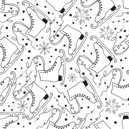 Winter fun seamless pattern with hand drawn ice skate and snowflakes. Black and white activity sport background for New Year or Christmas time.