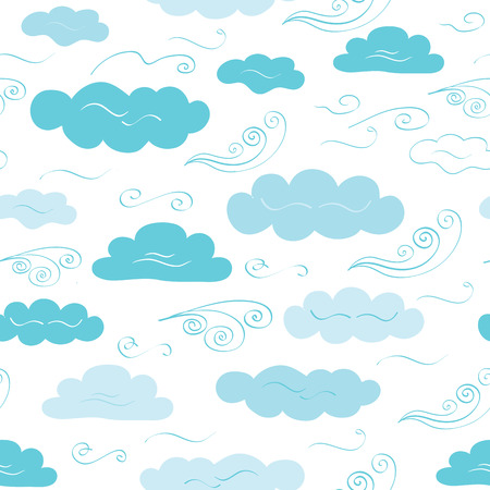 Decorative vector seamless pattern with hand drawn cute clouds and winds for textile design. Weather background made on blue color and great for baby fabric design for girl and boys. Illustration
