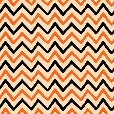 Seamless vector zig zag pattern for Halloween holiday made with black and orange colors. Bright textile or fabric background. Illustration