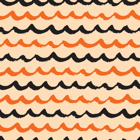 wallpapaer: Seamless vector wave pattern for Halloween holiday made with black and orange colors. Bright textile or Halloween party background. Abstract and geometric template.