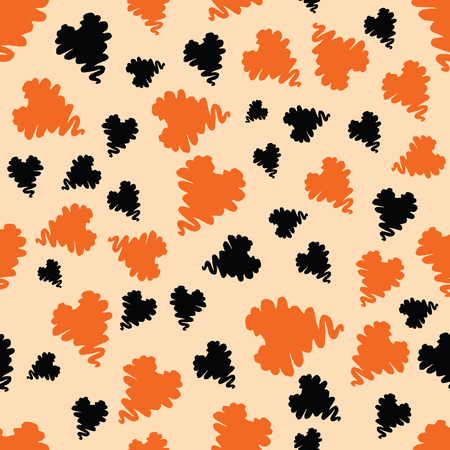 wallpapaer: Seamless vector pattern for Halloween holiday made with black and orange hand drawn hearts. Bright wallpaper for Halloween party background. Abstract design. Illustration