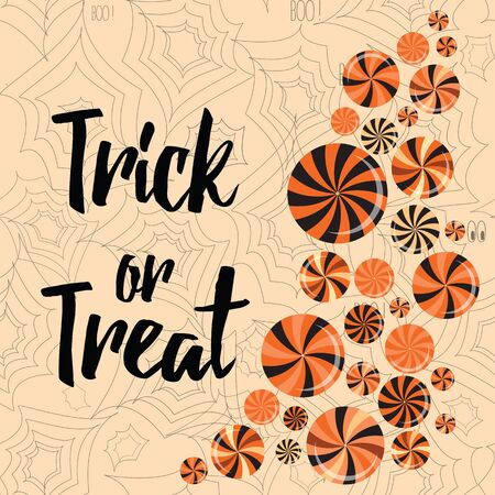 lollypop: Halloween trick or treat banner cute design decorated with candy, lollypop, spider web. Typographic card with lettering and words Trick or Treat for Halloween Party. Illustration