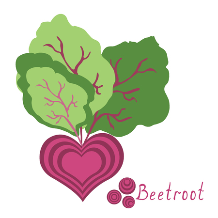 Fresh beetroot with leaves isolated on background. Fresh farm product sign. Ilustração