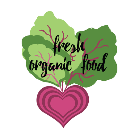 Eco food design with beetroot and positive motivational quote Fresh Organic Food isolated on the white. Typographic banner with fresh vegetable - beetroot
