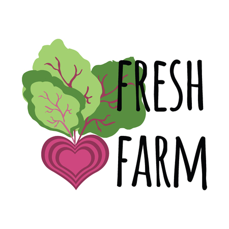 Fresh farm banner with cute abstract beetroot, leaves and text. Abstarct vegetable heart. Image isolated on the white. Illustration