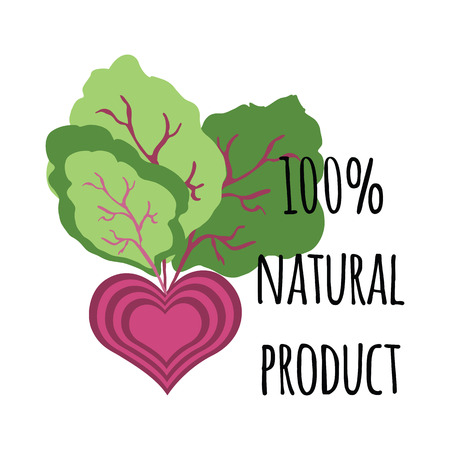eco slogan: Natural green lettering sticker with cute abstract beetroot. Vector ecology nature design element for banner or card.