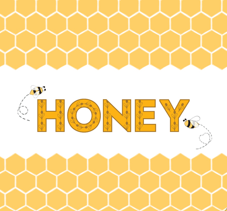 Seamless honeycomb horizontal border with text Honey and bee. Hand drawn yellow honey sweet background.