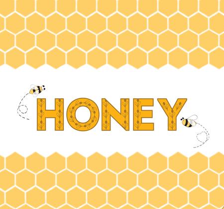 Seamless honeycomb horizontal border with text Honey and bee. Hand drawn yellow honey sweet background. Reklamní fotografie - 66770682