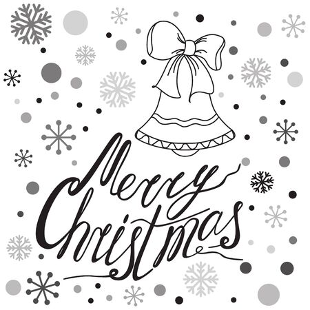 snowflakes and hand drawn text merry christmas black and white lettering design for print on t shirts and bags posters invitations graphic style - Merry Christmas Black And White