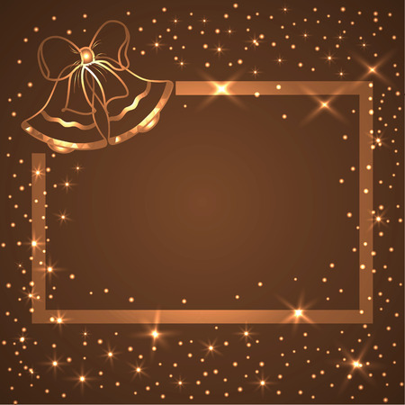 colden: Vector Christmas or New Year time glowing rectangular frame decorated cute Christmas bells for any design Illustration