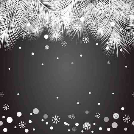 christmas fur tree: Christmas fur tree frame for Christmas and New Year design with snow, snowflakes on the black chalk board.