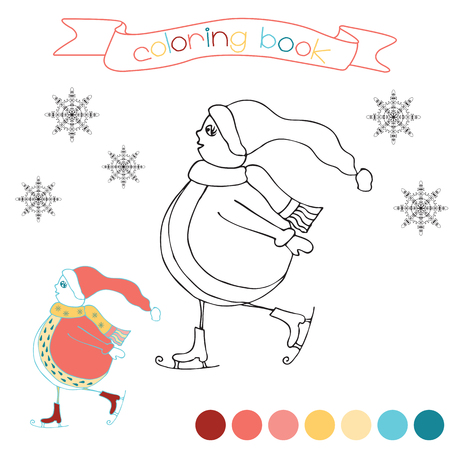winter scene: Coloring book with skating snowman. Winter scene in vector illustration. Colored page for kids.