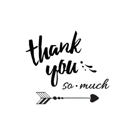 Thank you so much typography lettering card on white. romantic element for greeting card design.