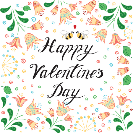 14 february: Love greeting for St. Valentines Day card with hand drawn meadow flowers and love bee. Ideal for 14 February background or congratulation design made on light pastel colors.