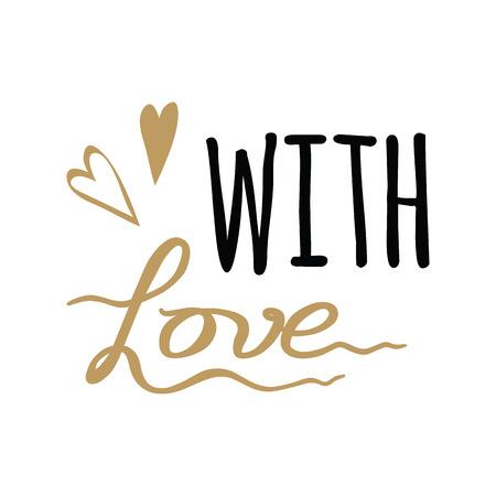 Vector disegnato a mano con segno Elemento di design lettering di amore. Calligrafia fatta a mano.