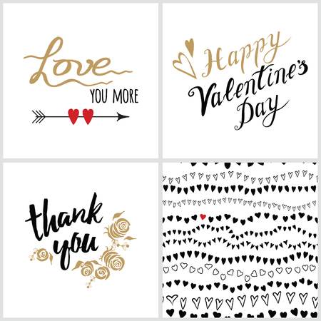 Vector Collection Of Four Cards Template Set Love Quotes And Amazing Quotes About Patterns