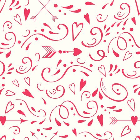 Seamless pattern with cute romantic pink doodle ornament. Arrows and hearts.