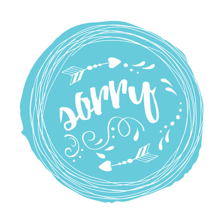 Vector stamp with phrase sorry decorated abstract white floral ornament on blue spot