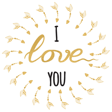 Vector romantic greeting card. Typographic hand drawn gold and sparkle inspirational quote I love you Stock Photo