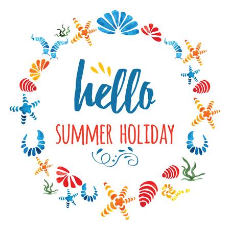 かわいいサークルの枠に手描きのカラフルな海の貝、白のテキスト夏の休日 写真素材 - 71841119