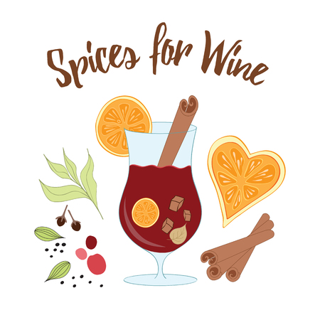 cloves: Spices for wine. Mulled red wine with glass of drink indingredients: herbs, dry orange, dry berries, cardamom, cinnamon, cloves, brown sugar