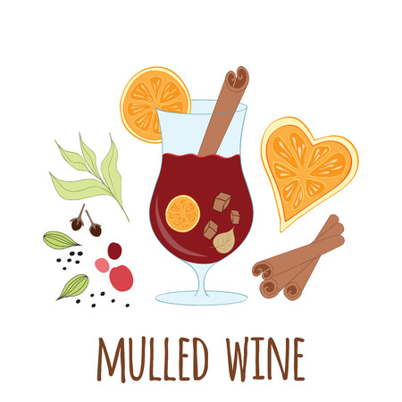 Mulled wine with glass of drink and hand drawn ingredients on white Illustration