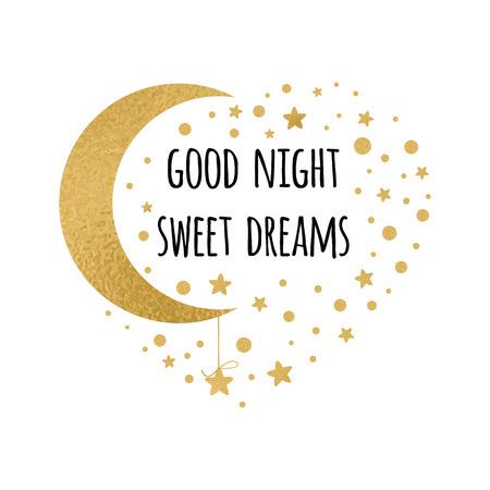 Vector de impresión con texto Buenas noches, dulces sueños. Tarjeta witing de deseos con luna y estrellas en colores oro sobre blanco