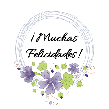 Happy birthday banner with text congratulate title in Spanish. Floral frame. Illustration