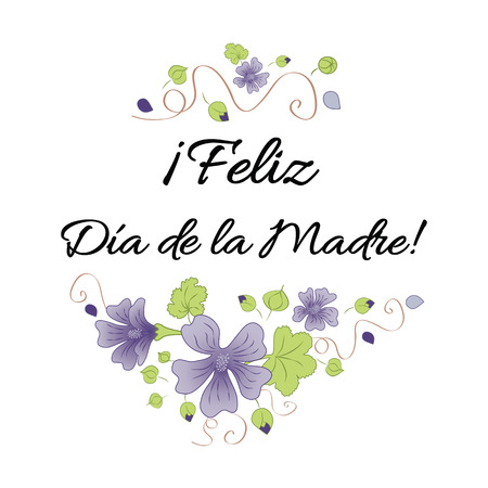 Happy Mother Day banner decorated hand drawn meadow flowers. Lettering title in Spanish